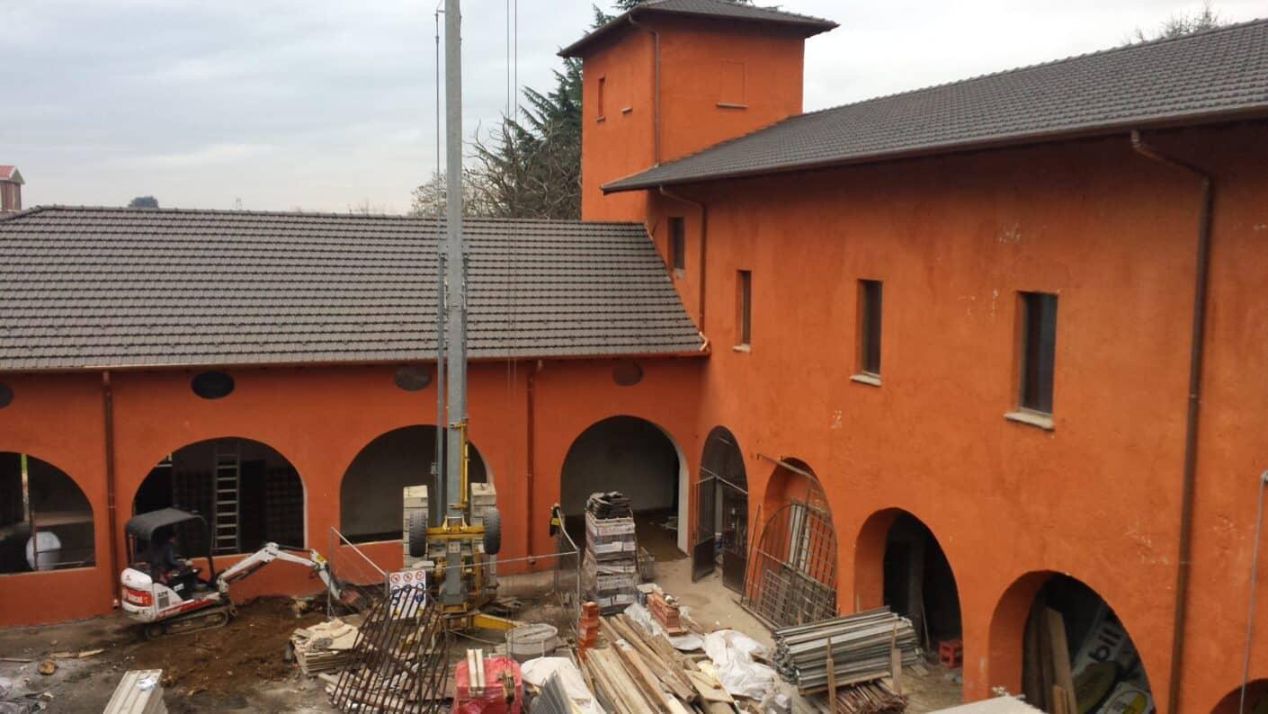 I lavori di restauro del Museo Fisogni - Cortile